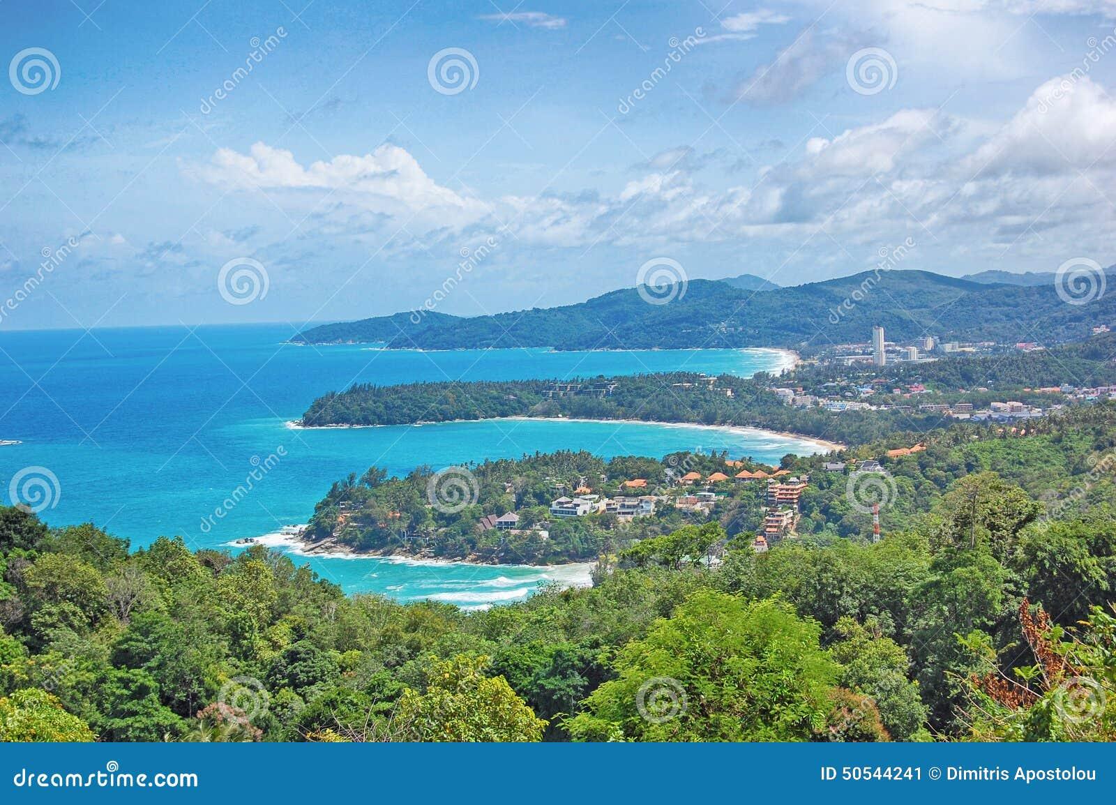 Kata viewpoint on phuket island thailand kata stock for 3 bays