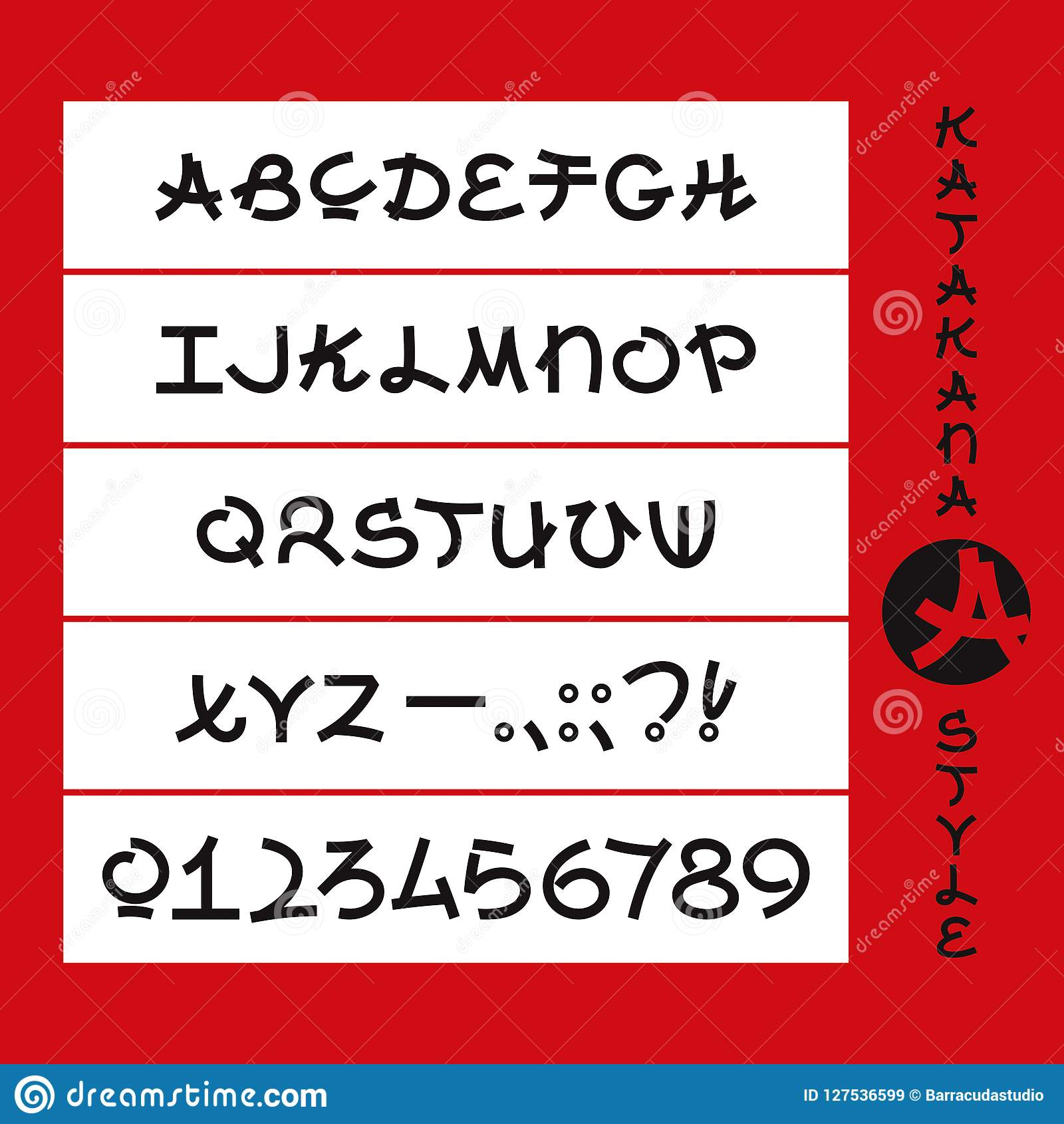 Katakana Style Alphabet  Japanese Style Letters  Stock