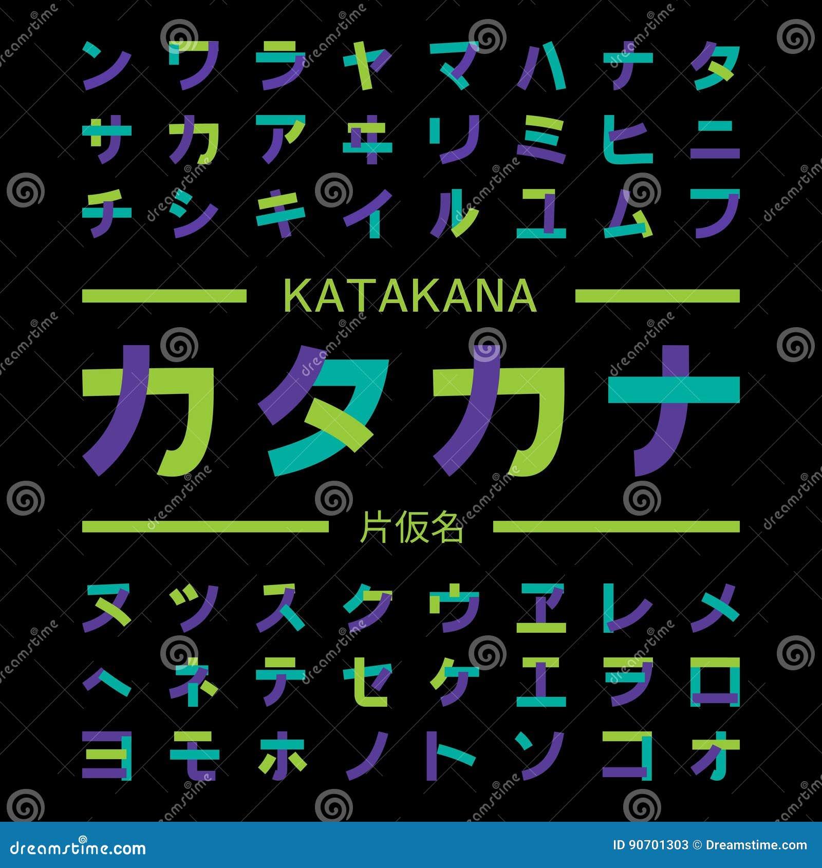 Katakana Symbols Japanese Alphabet Stock Vector Illustration Of