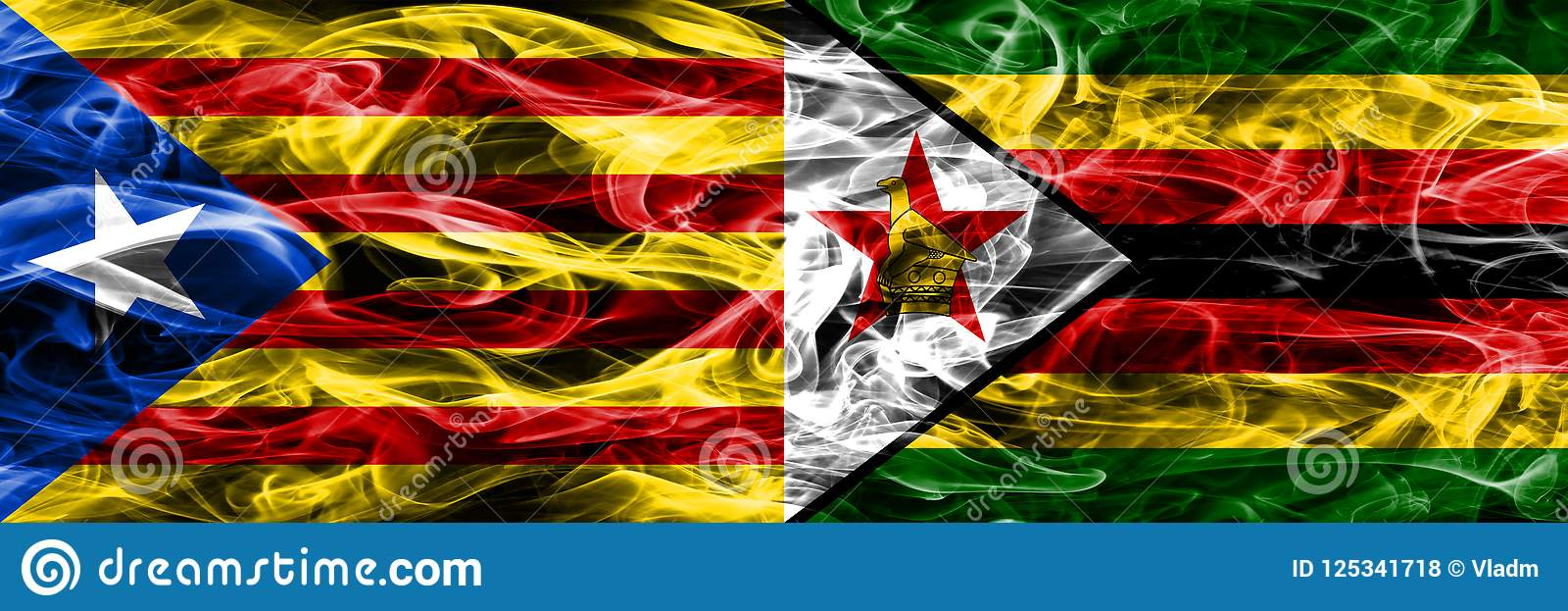 Katalonien gegen die Simbabwe-Kopienrauchflaggen nebeneinander gesetzt Dicke farbige seidige Rauchflaggen des katalanisches und d