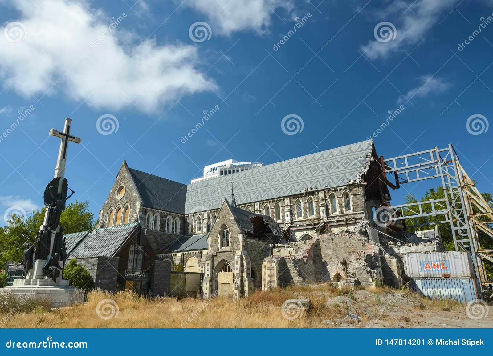 Katedra w Christchurch, Nowa Zelandia, dewastujący silnym trzęsieniem ziemi