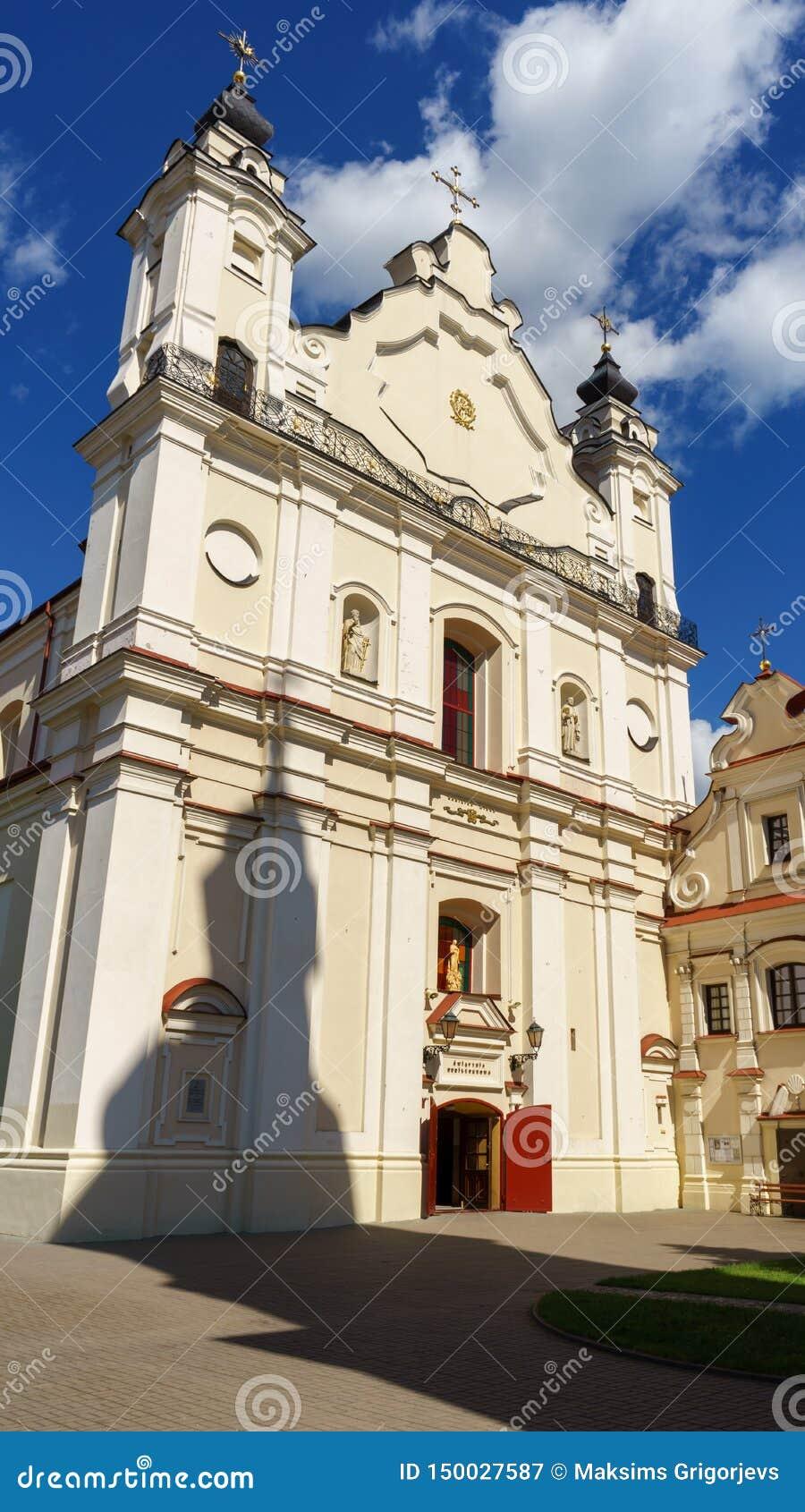 Katedralna bazylika wniebowzięcie Błogosławiony maryja dziewica z cieniem swój Dzwonkowy wierza, Pinsk, Białoruś, Czerwiec 21, 20