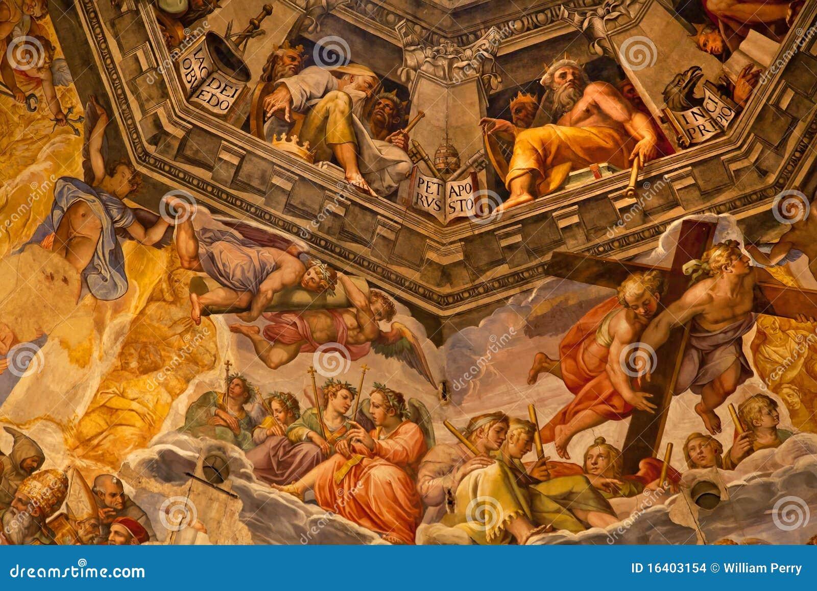Katedralny kopuły duomo Florence fresku vasari