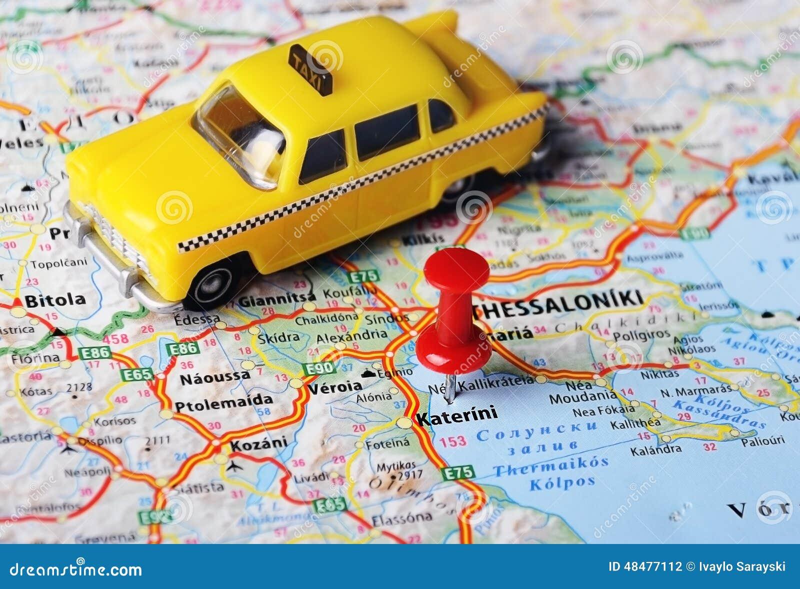 Katerini Grecja Mapy Taxi Zdjecie Stock Obraz Zlozonej Z