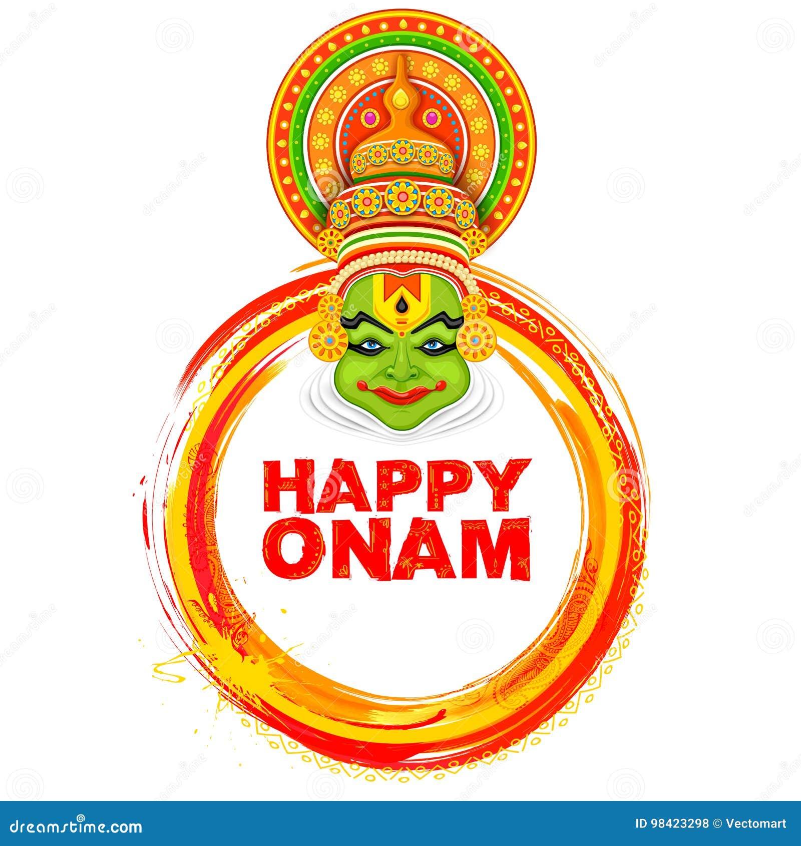 Kathakali Dancer On Background For Happy Onam Festival Of