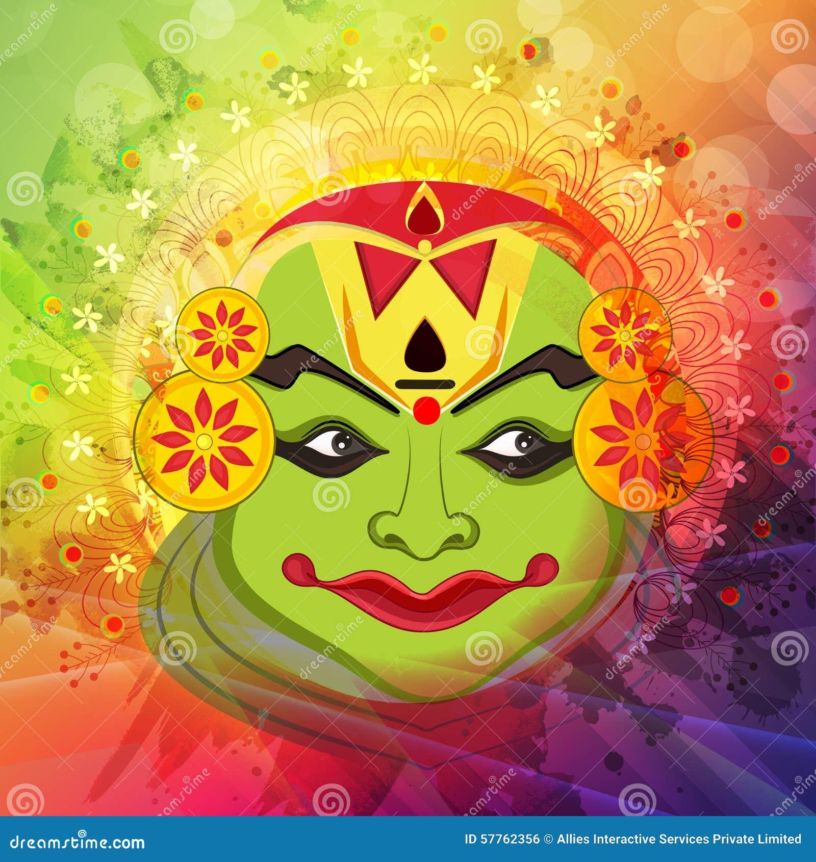 Kathakali Dancer Face For Happy Onam Celebration. Stock ...