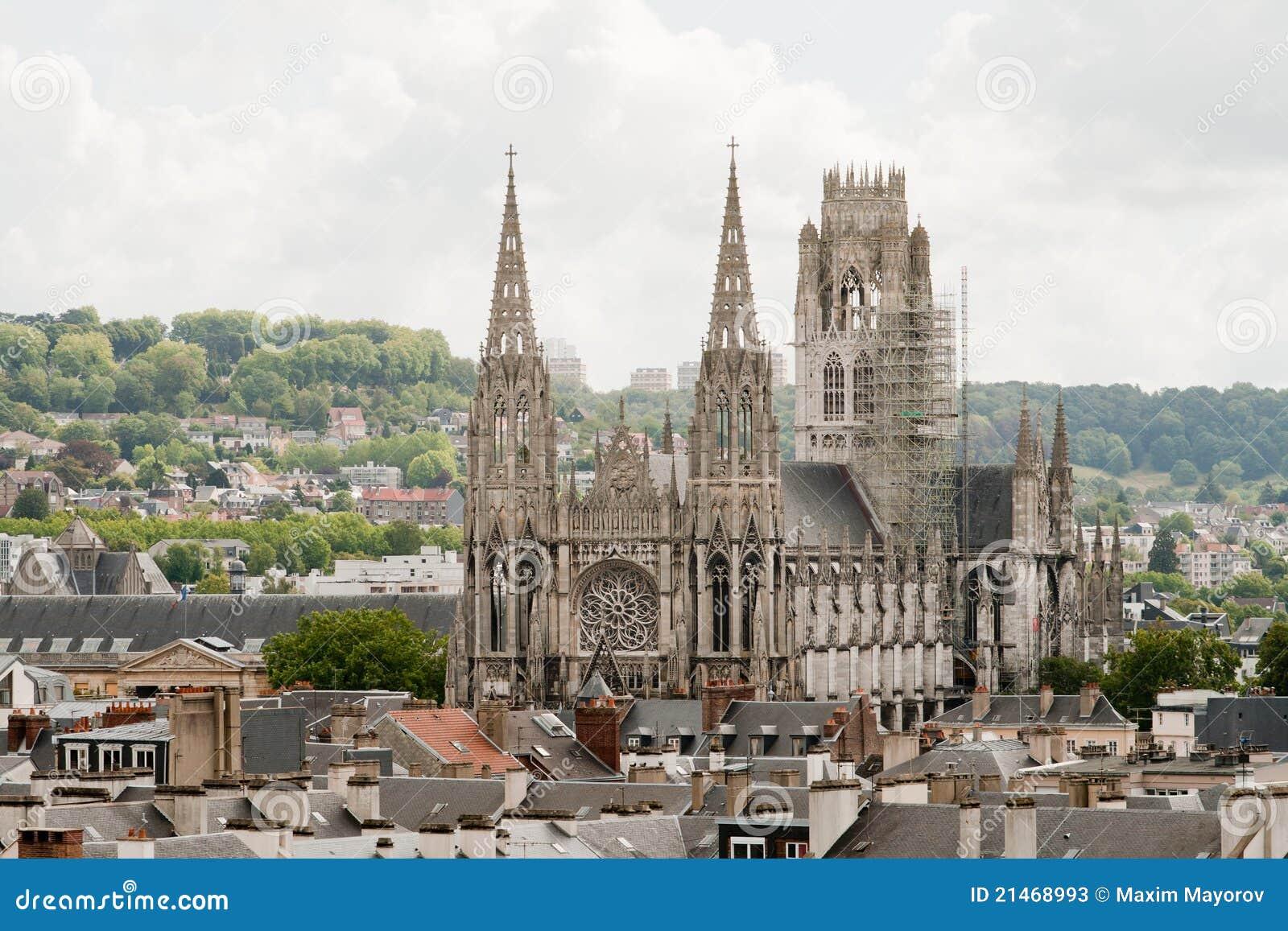 Kathedraal In Rouen Frankrijk Stock Afbeelding Afbeelding Bestaande Uit Toeristisch