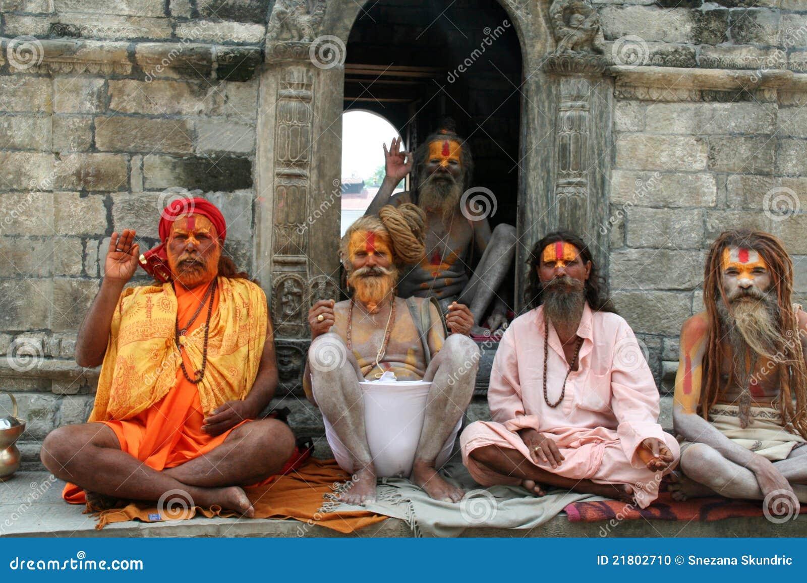 Unidentified sadhus at Pashupatinath Temple in Kathmandu, Nepal. Sadhu ...
