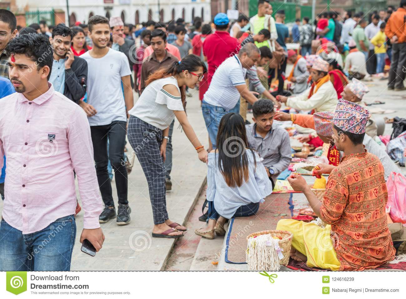 Hindu Pople Receiving Raksha Bandhan at Pashupatinath Temple in