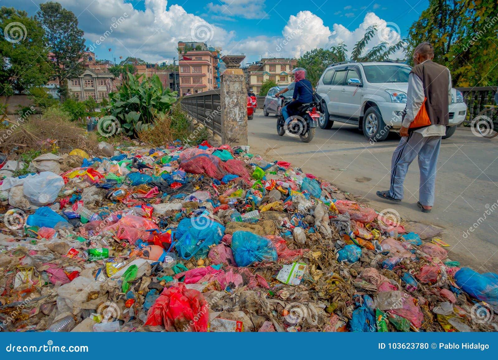 KATHMANDU, NEPAL OCTOBER 15, 2017: Food And Pile Of Domestic Garbage