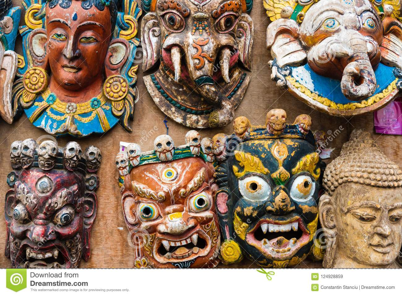 Traditional Masks As Souvenirs At Monkey Temple