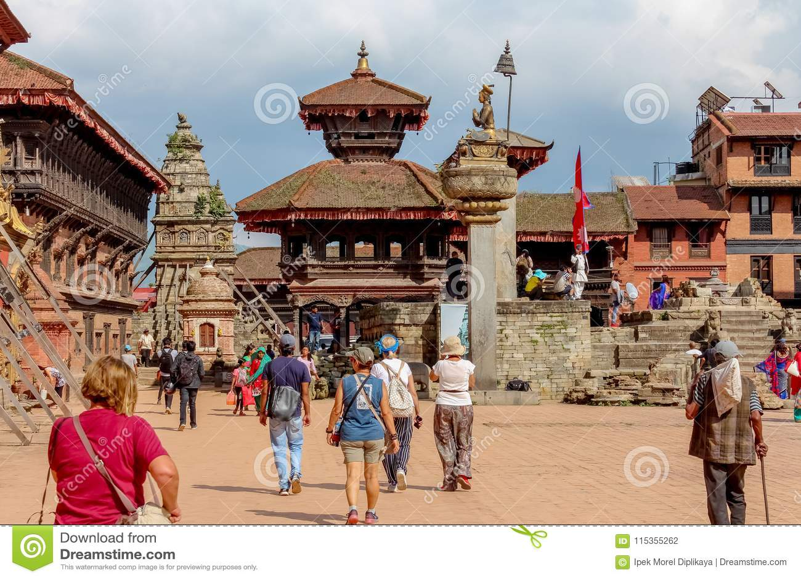 Kathmandu, Nepal - November 04, 2016: Nepalese people and tourists in Durbar Square, Kathmandu, Nepal