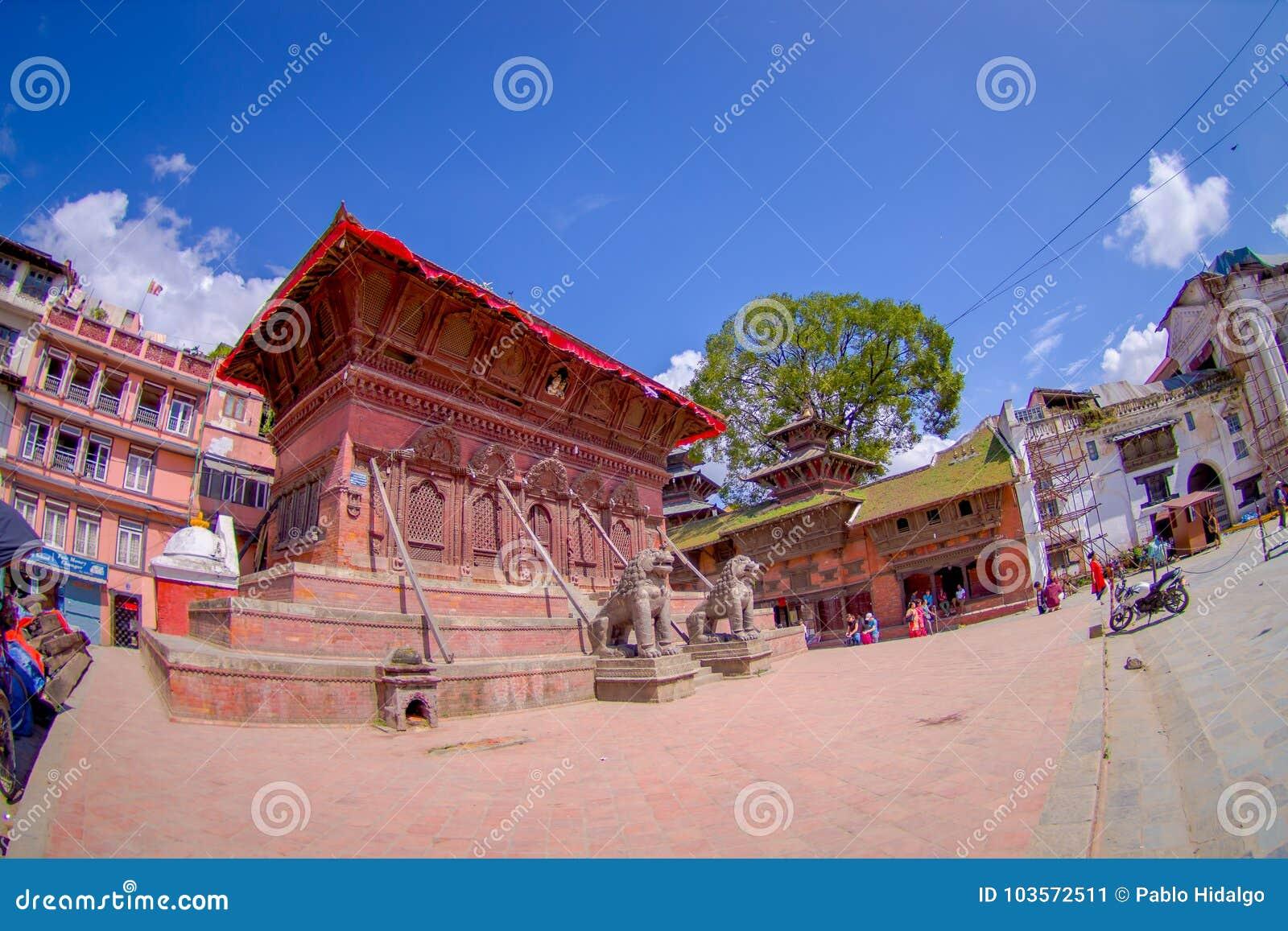 KATHMANDU, NEPAL OCTOBER 15, 2017: Lion statues, in a north entrance at Hindu temple, Kathmandu Valley