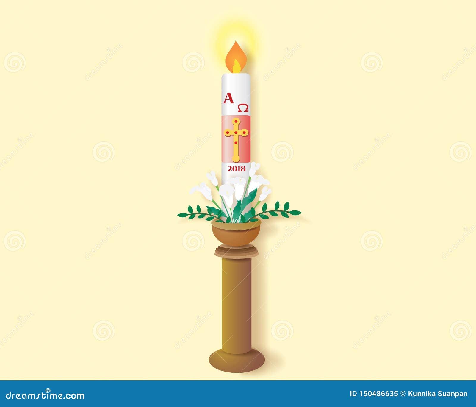 Katholieke paschal kaars met het branden