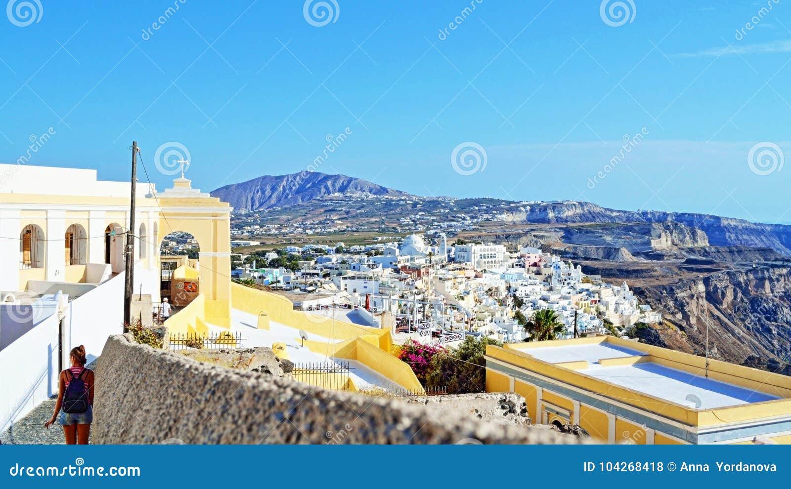 Katholisches Kathedrale Santorini-Inselpanorama Griechenland