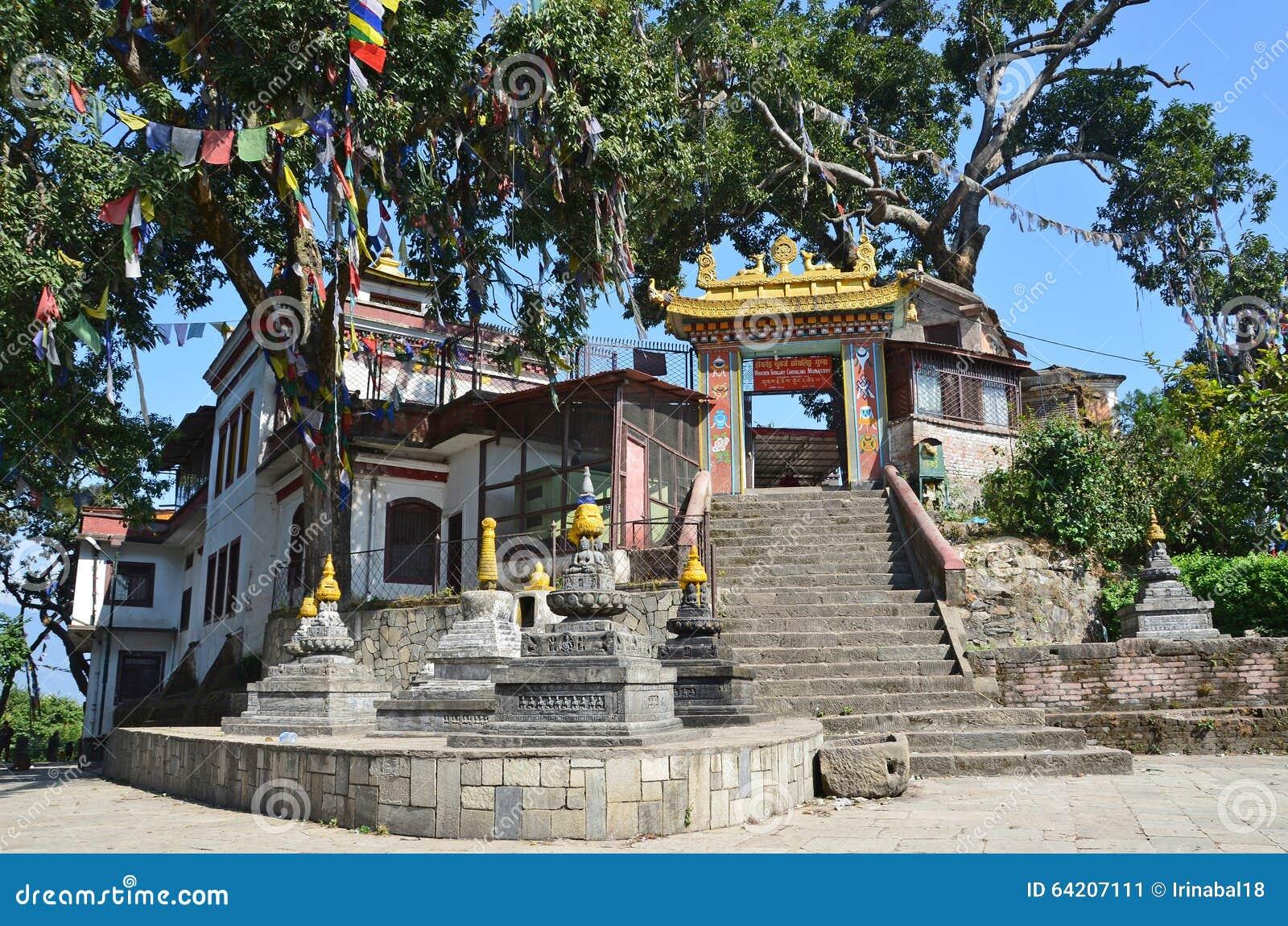 Katmandu, Nepal, monasterio budista en el complejo del templo de Swayambhunath (colina del mono)