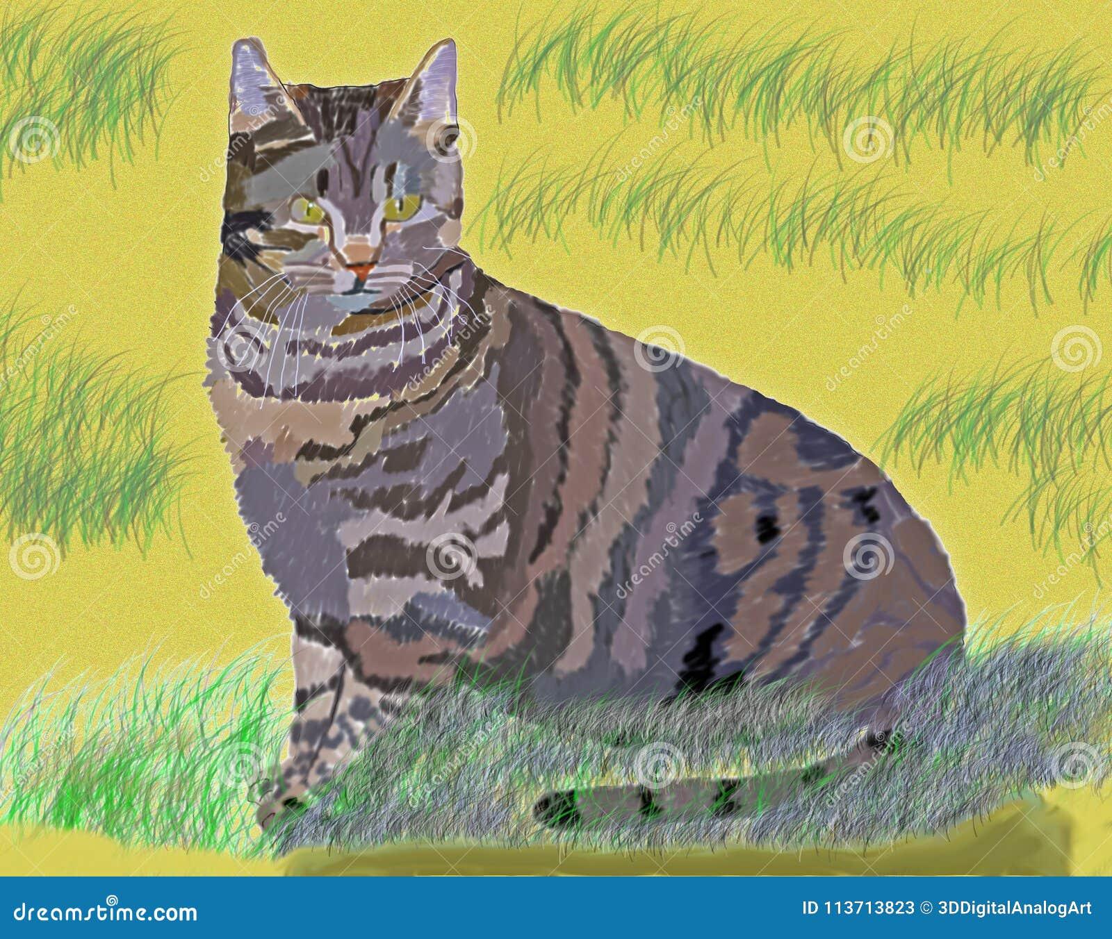 Katt i sanddyerna - Digital konst