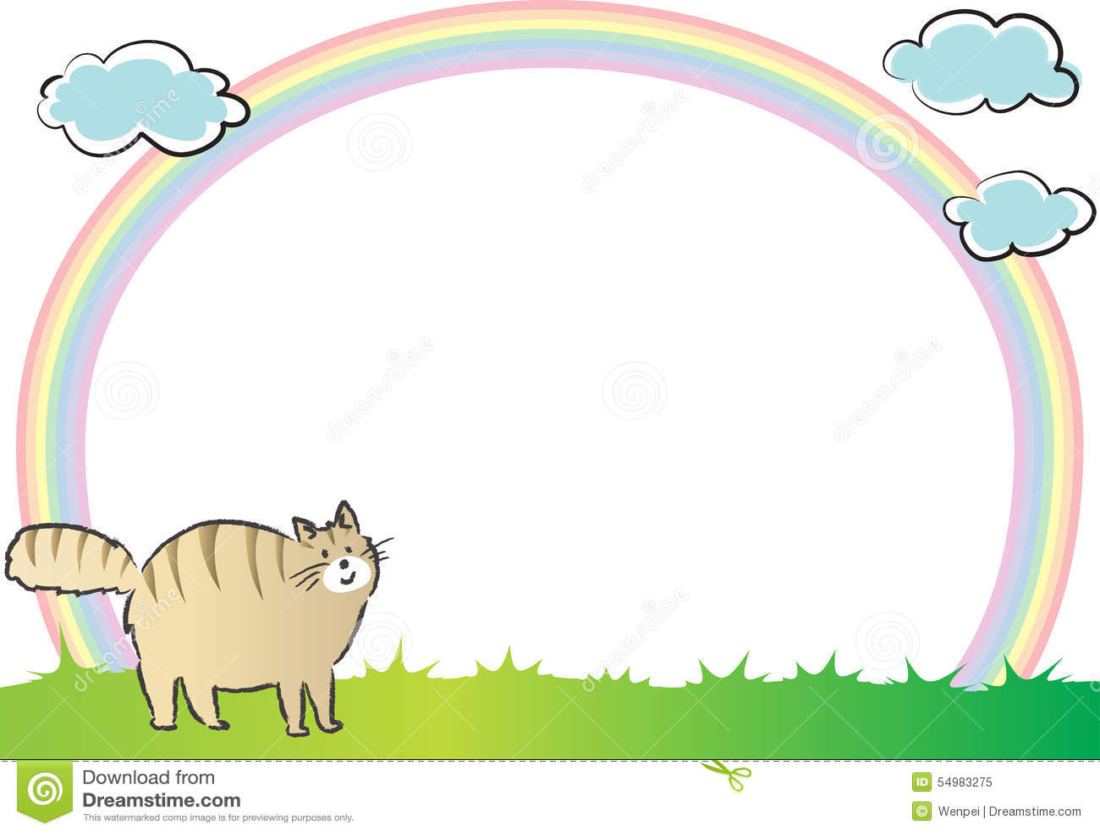Katt och regnbåge i bakgrunden
