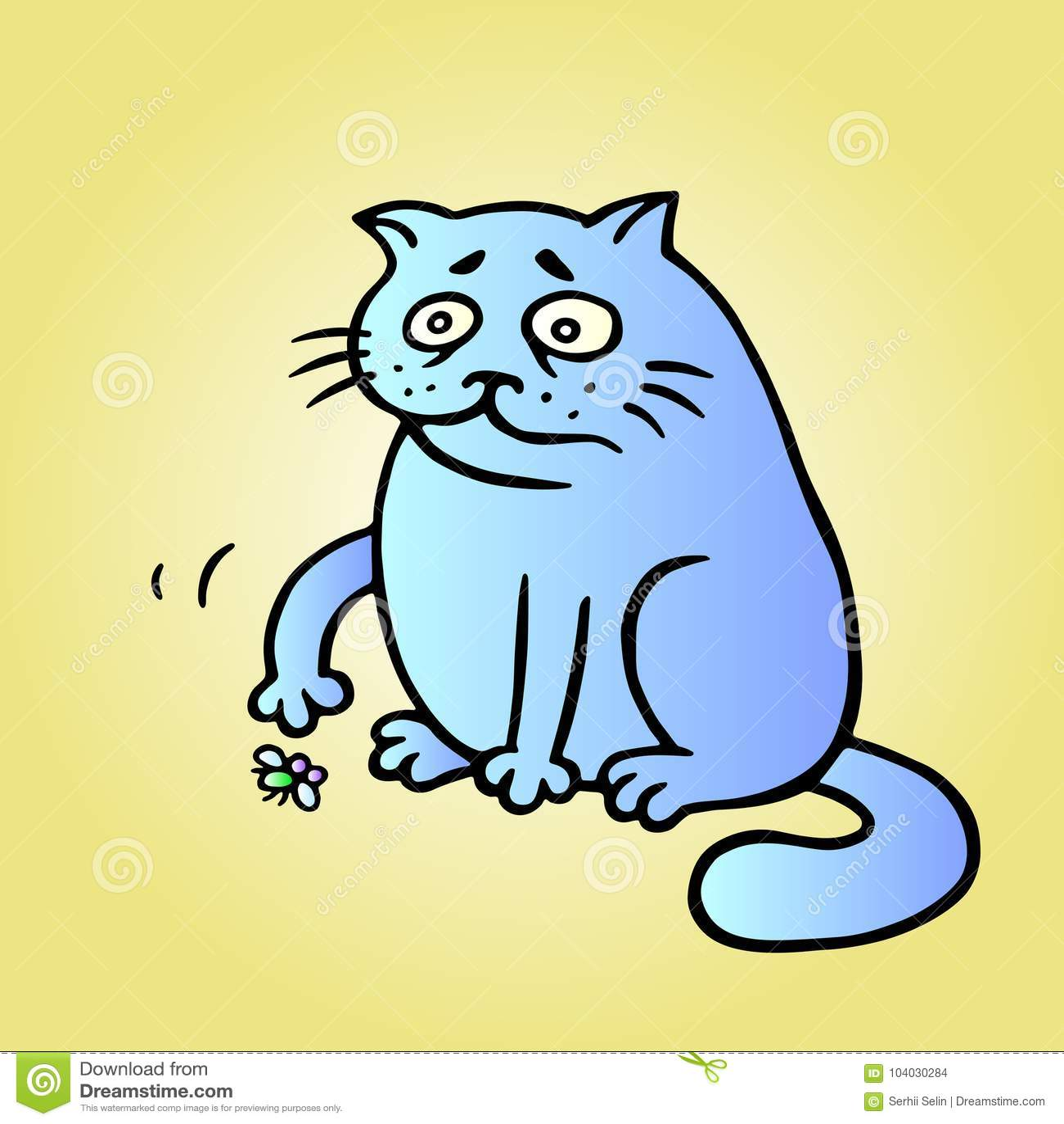 Katten önskar att spela, och flugan är trött och har dött också vektor för coreldrawillustration