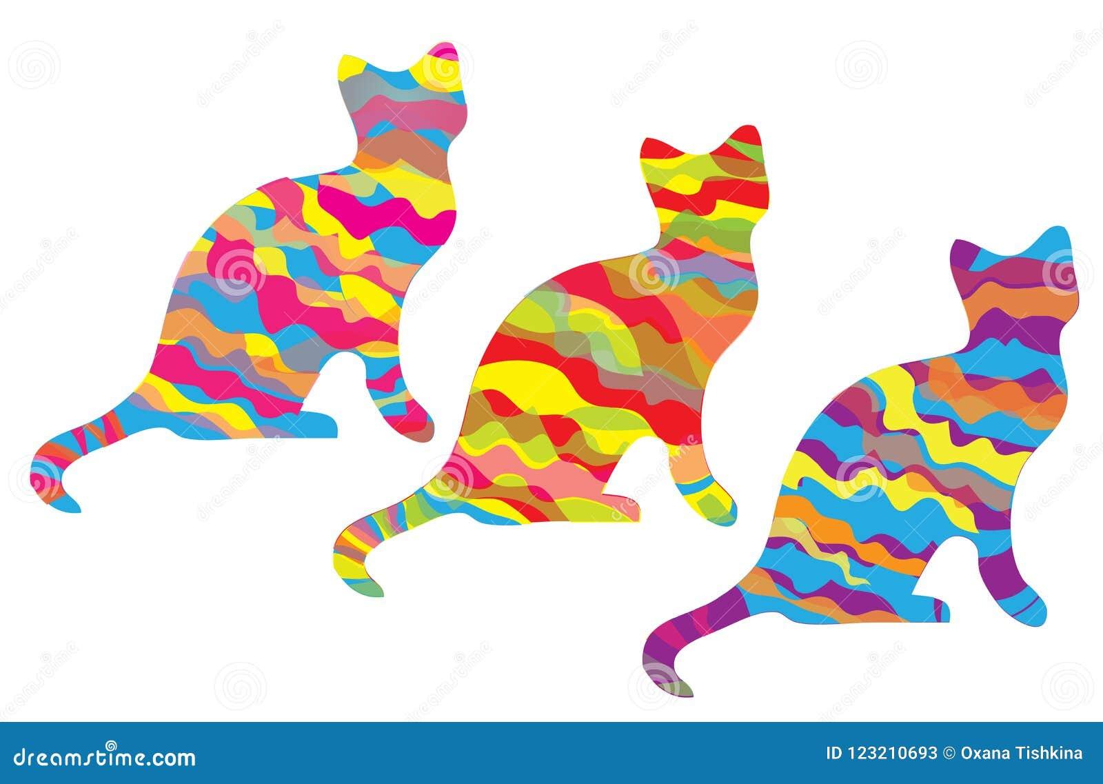 Katten drie silhouetten met kleurrijke strepen