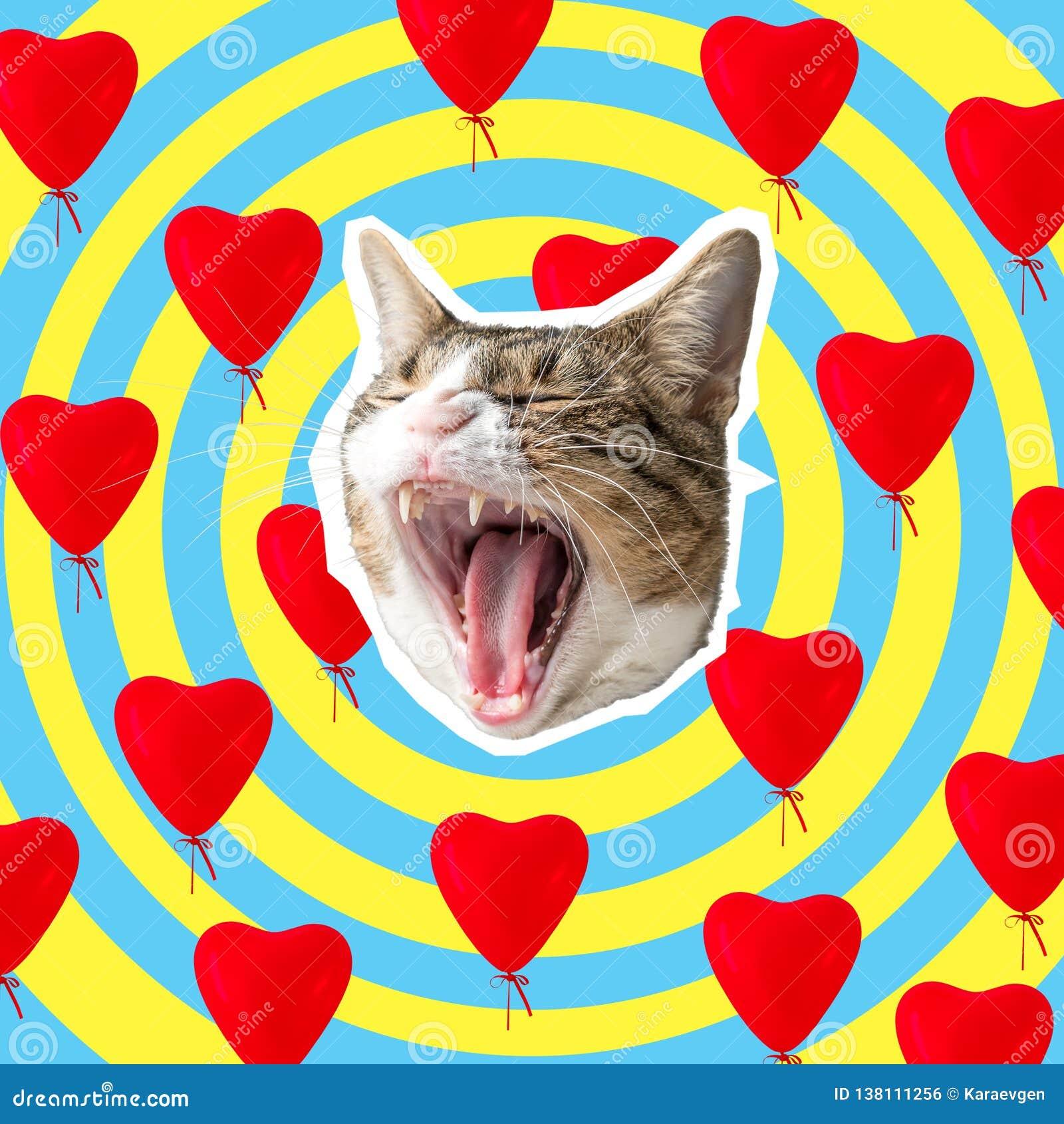 Kattenhoofd met heldere hartencollage, pop-artconceptontwerp Minimale liefdeachtergrond
