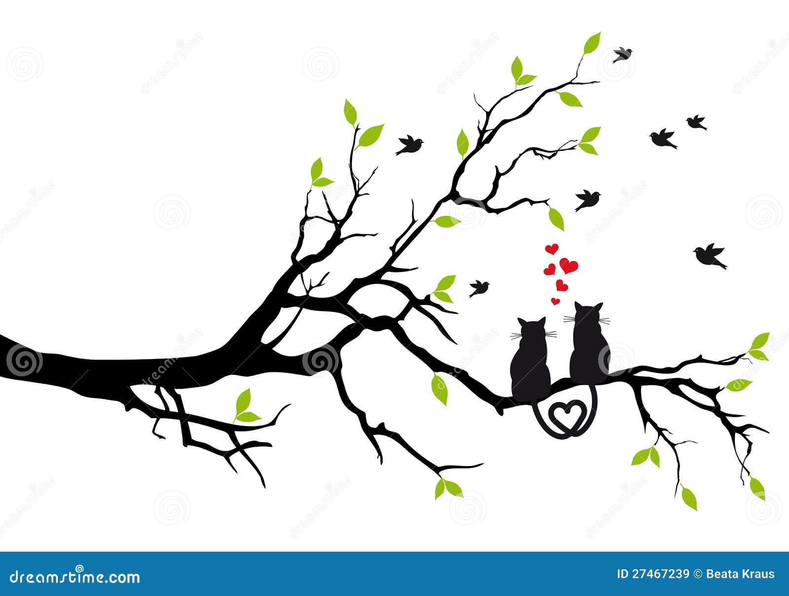 Katter som är förälskade på treen, vektor