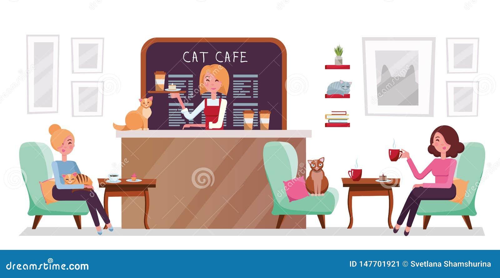 Kattkafét shoppar, folk som kopplar av med pott Det inre stället att möta, dricka och äta, pratar, har att vila med husdjur, bari