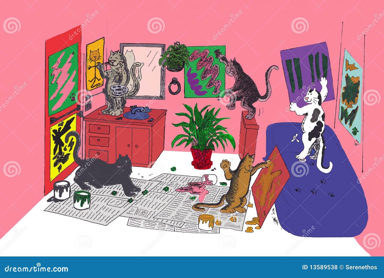 Kattmålarfärg som