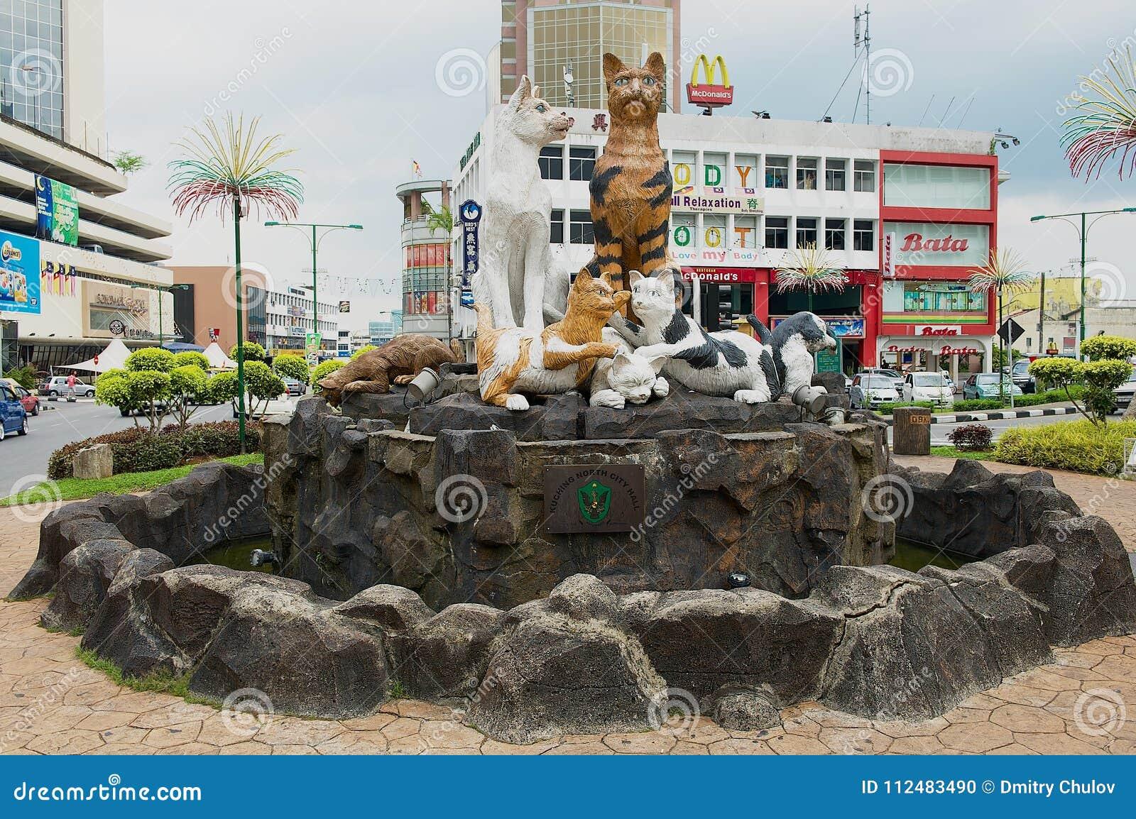 Kattmonument i i stadens centrum Kuching, Malaysia