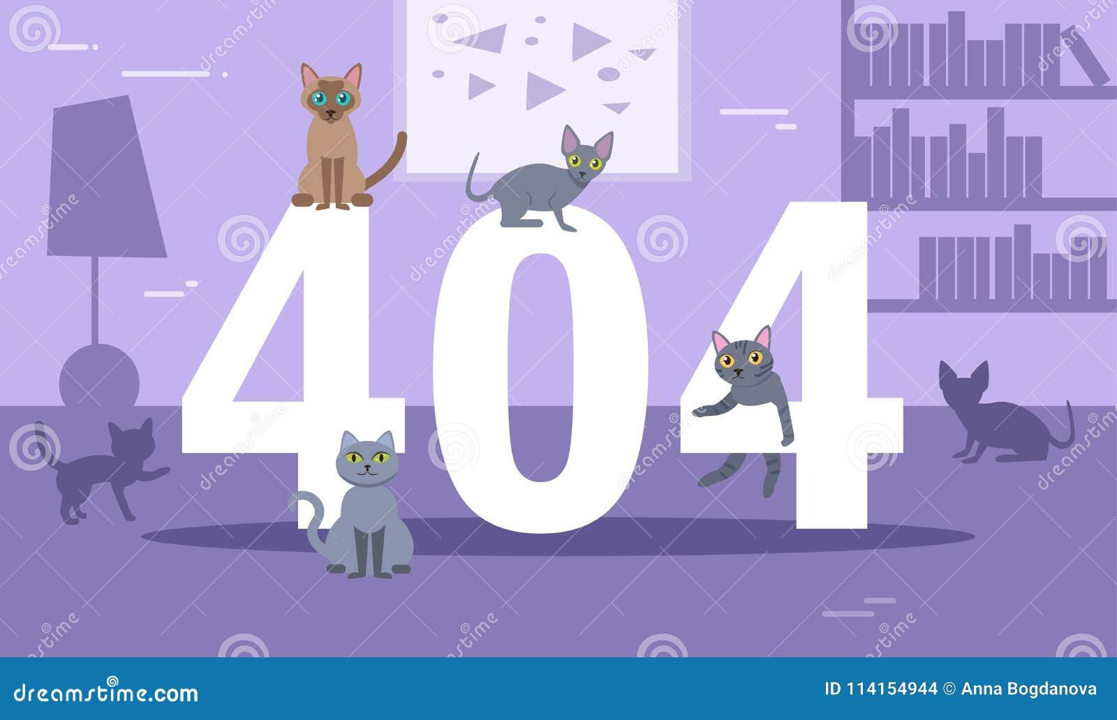 Kattvektor för fel 404 cartoon