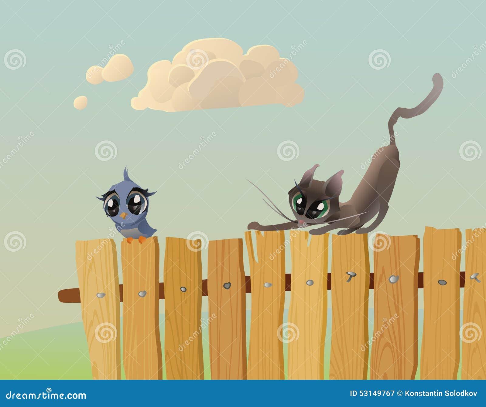 katze jagt einen vogel vektor abbildung bild von stimmung 53149767. Black Bedroom Furniture Sets. Home Design Ideas