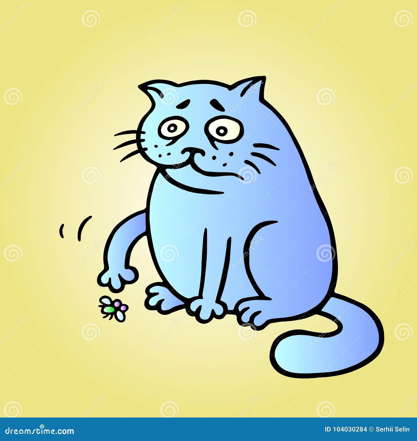 Katze möchte spielen und die Fliege ist müde und ist gestorben Auch im corel abgehobenen Betrag
