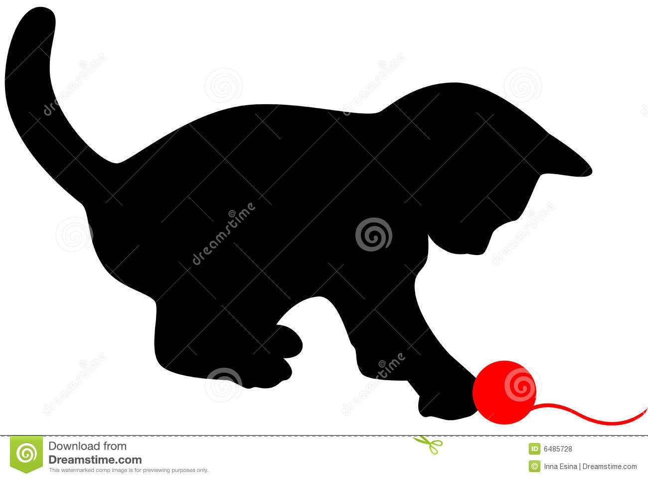Black Silhouettes Of Cats And Kitten