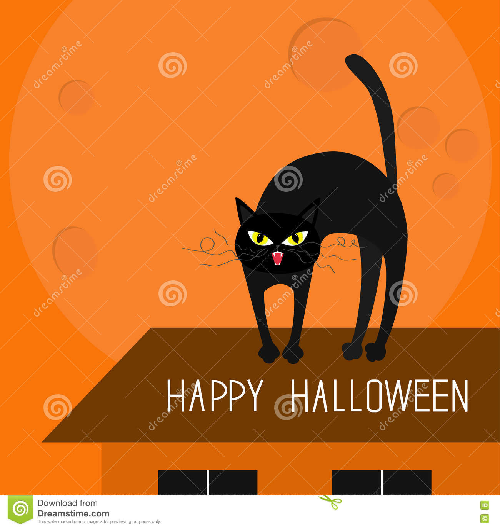 Gelbe Karte Lustig.Katzenbogenrückseite Miezekatze Auf Dach Gelbe Augen Reißzähne