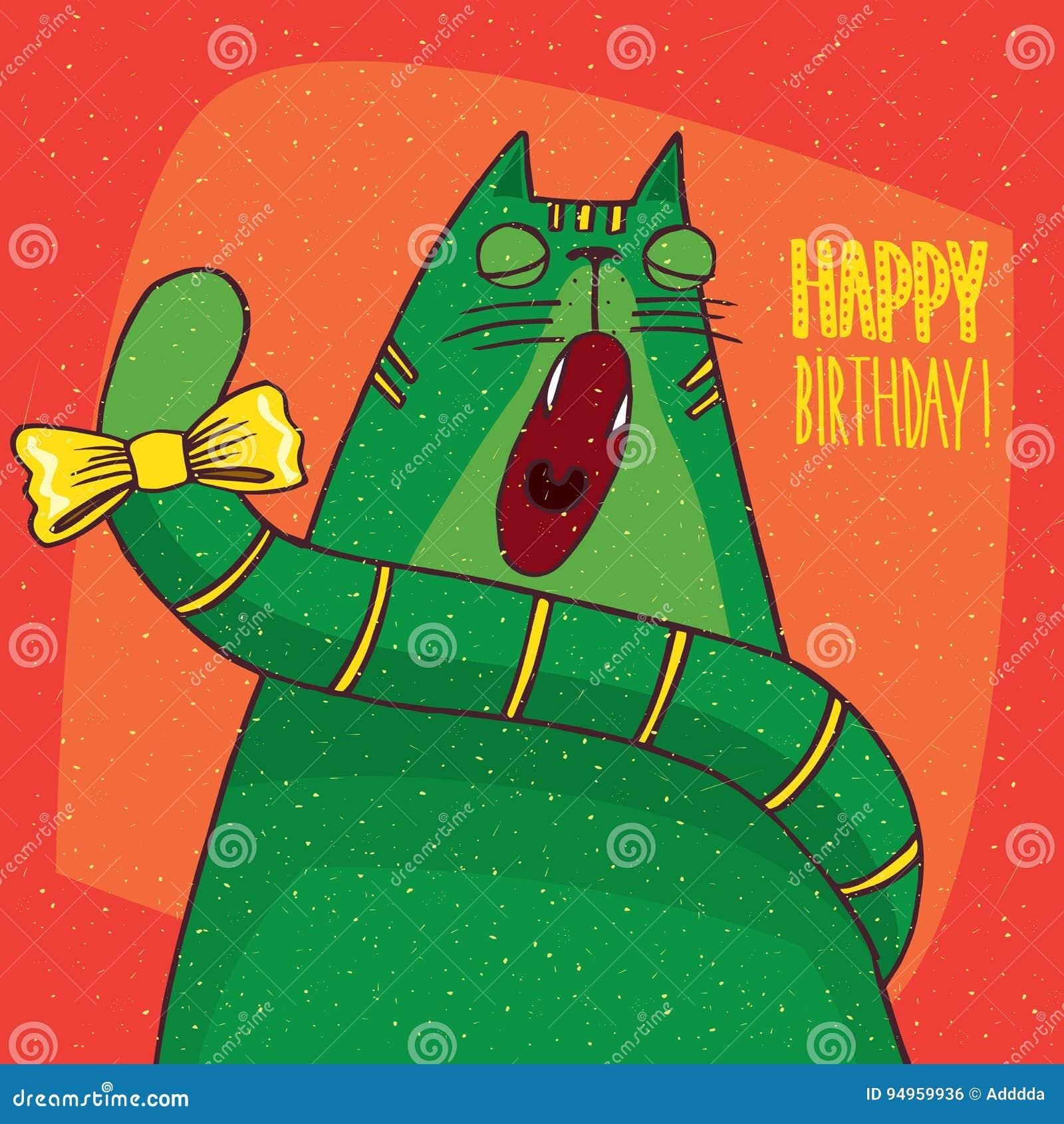 Katzengegähne Und Aufschrift Alles Gute Zum Geburtstag Vektor