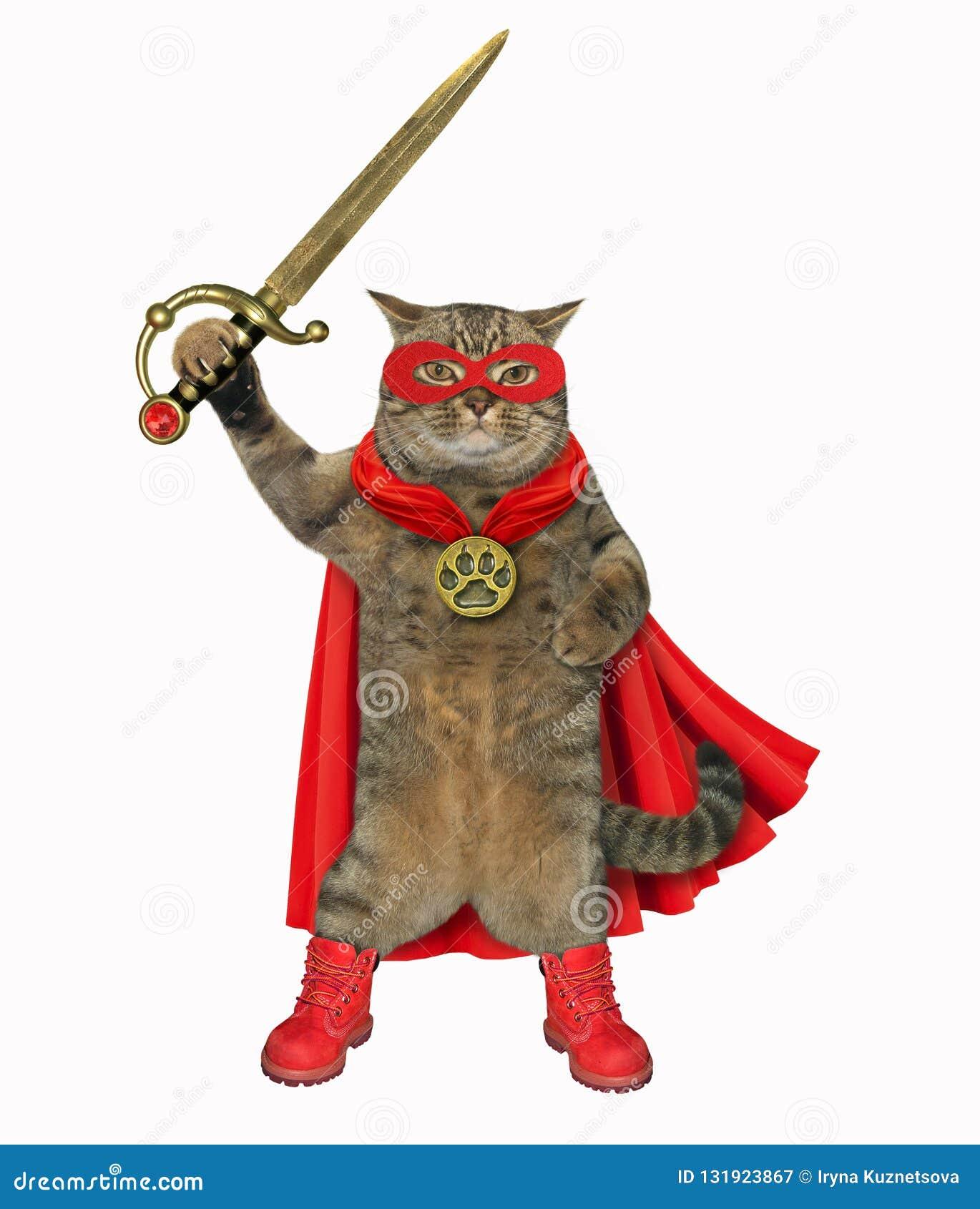 Katzensuperheld mit einer Klinge