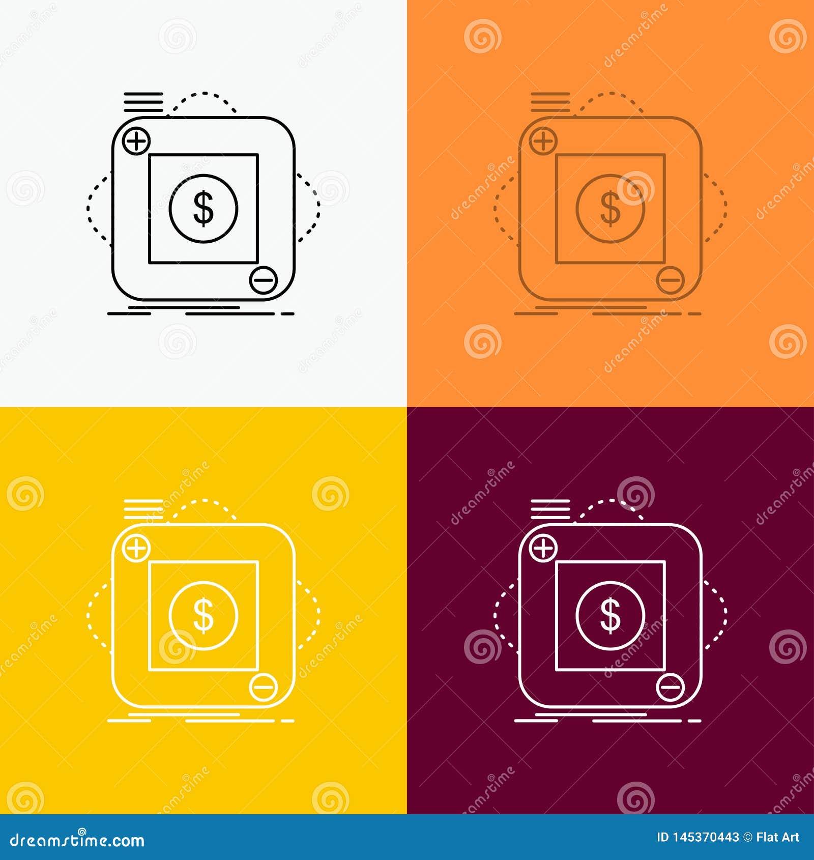 Kauf, Speicher, App, Anwendung, bewegliche Ikone über verschiedenem Hintergrund r Vektor ENV 10