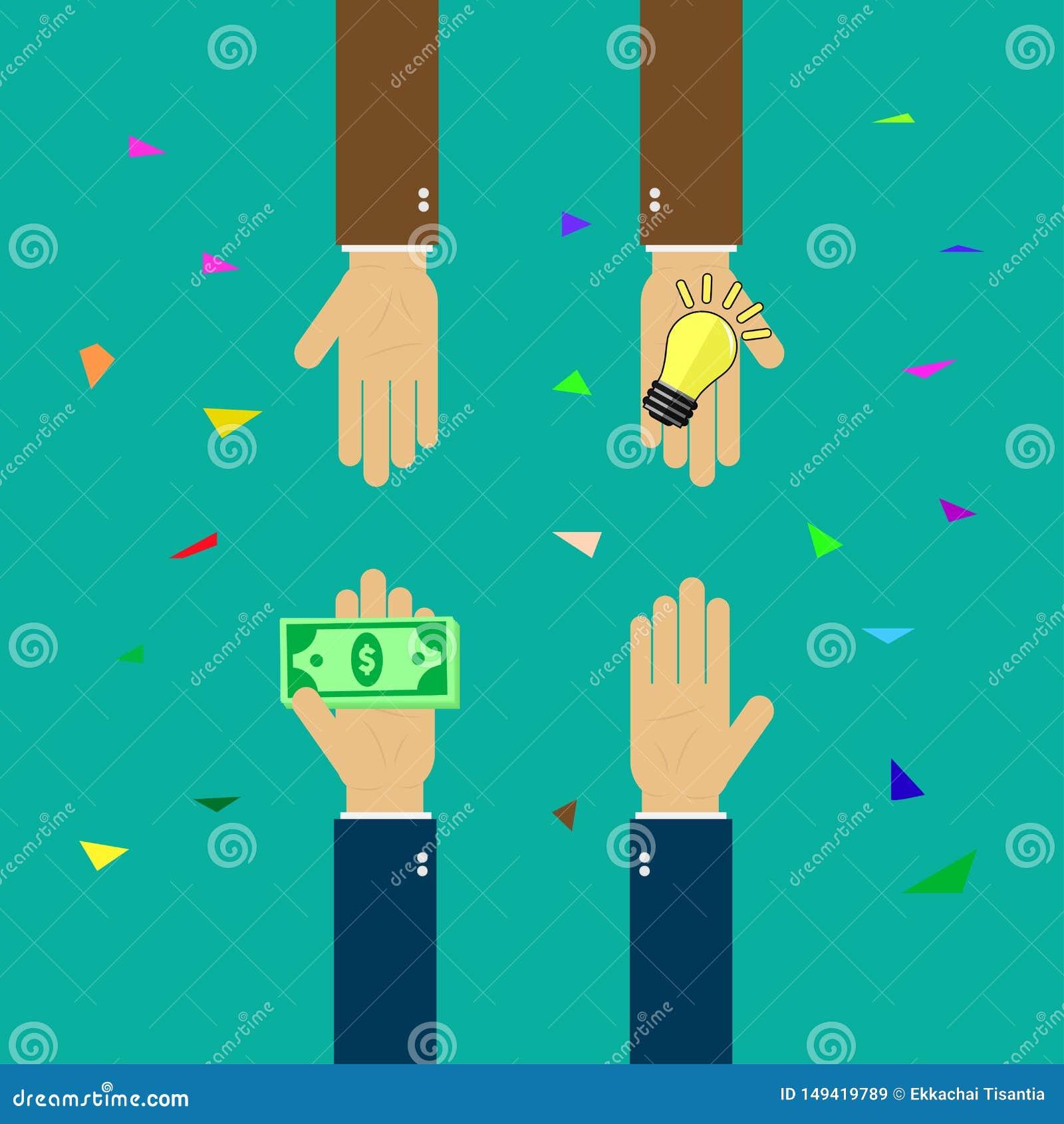 Kaufideen, die Idee, die f?r Geld handelt, folgen mit Gesch?ft, Hand h?lt Geld, Hand h?lt Gl?hlampe