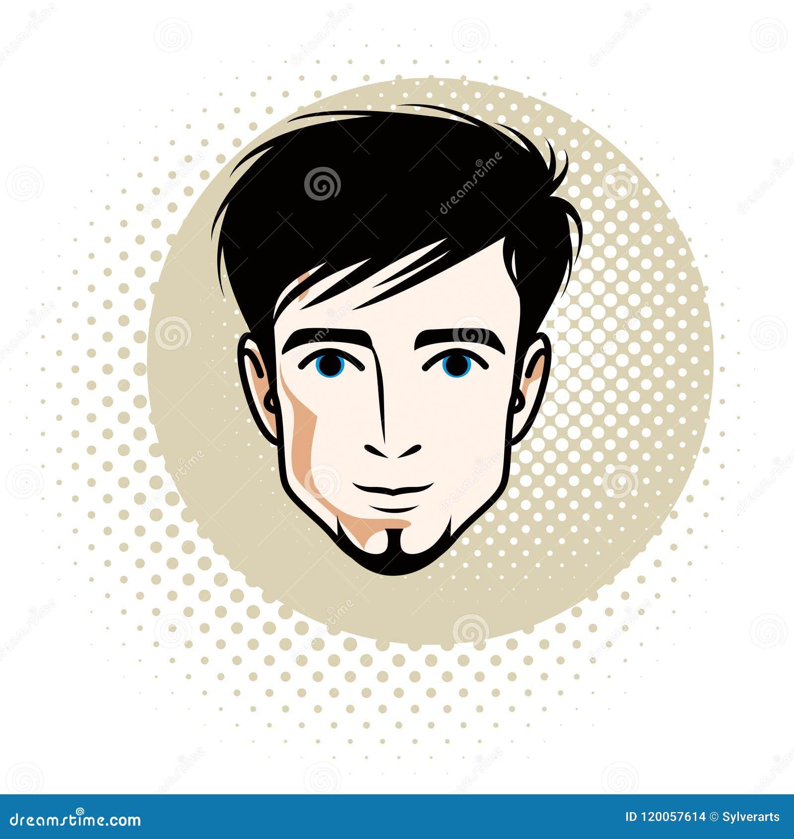 Kaukaska mężczyzna twarz wyraża pozytywne emocje, wektorowa istota ludzka on