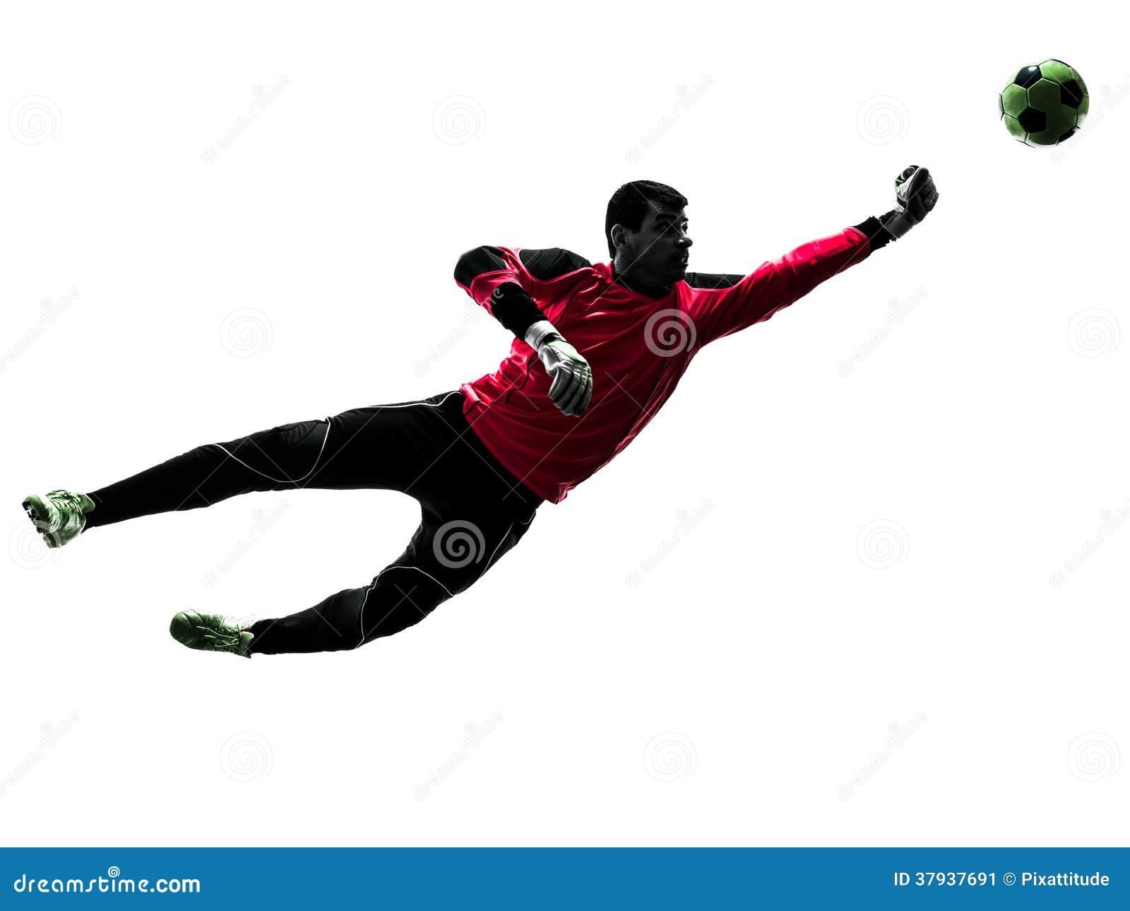 Kaukaski gracza piłki nożnej bramkarza mężczyzna uderza pięścią balową sylwetkę