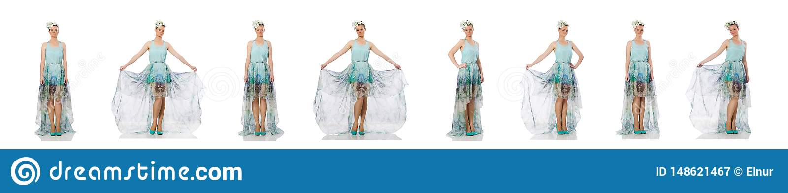 Kaukaski model w b??kitnej kwiecistej sukni odizolowywaj?cej na bielu