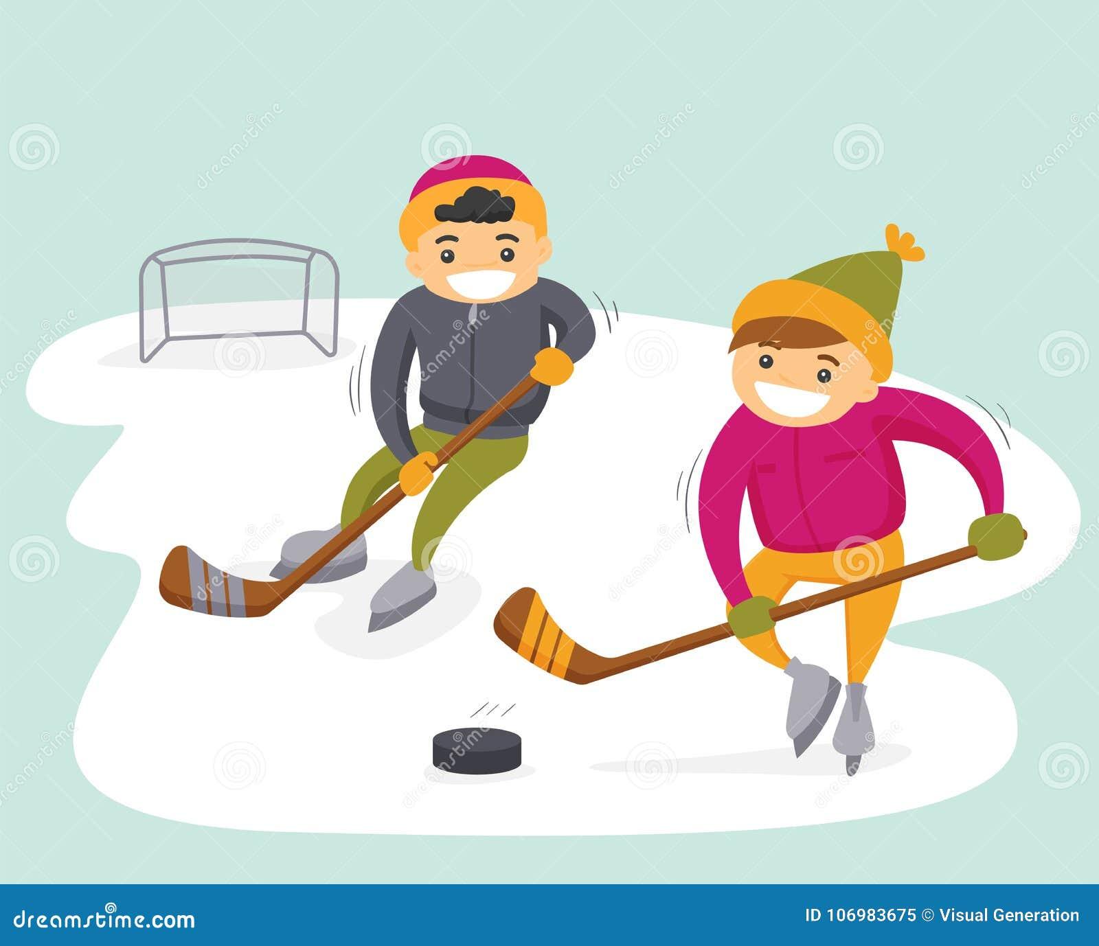 Kaukaskie chłopiec bawić się hokeja na plenerowym lodowisku