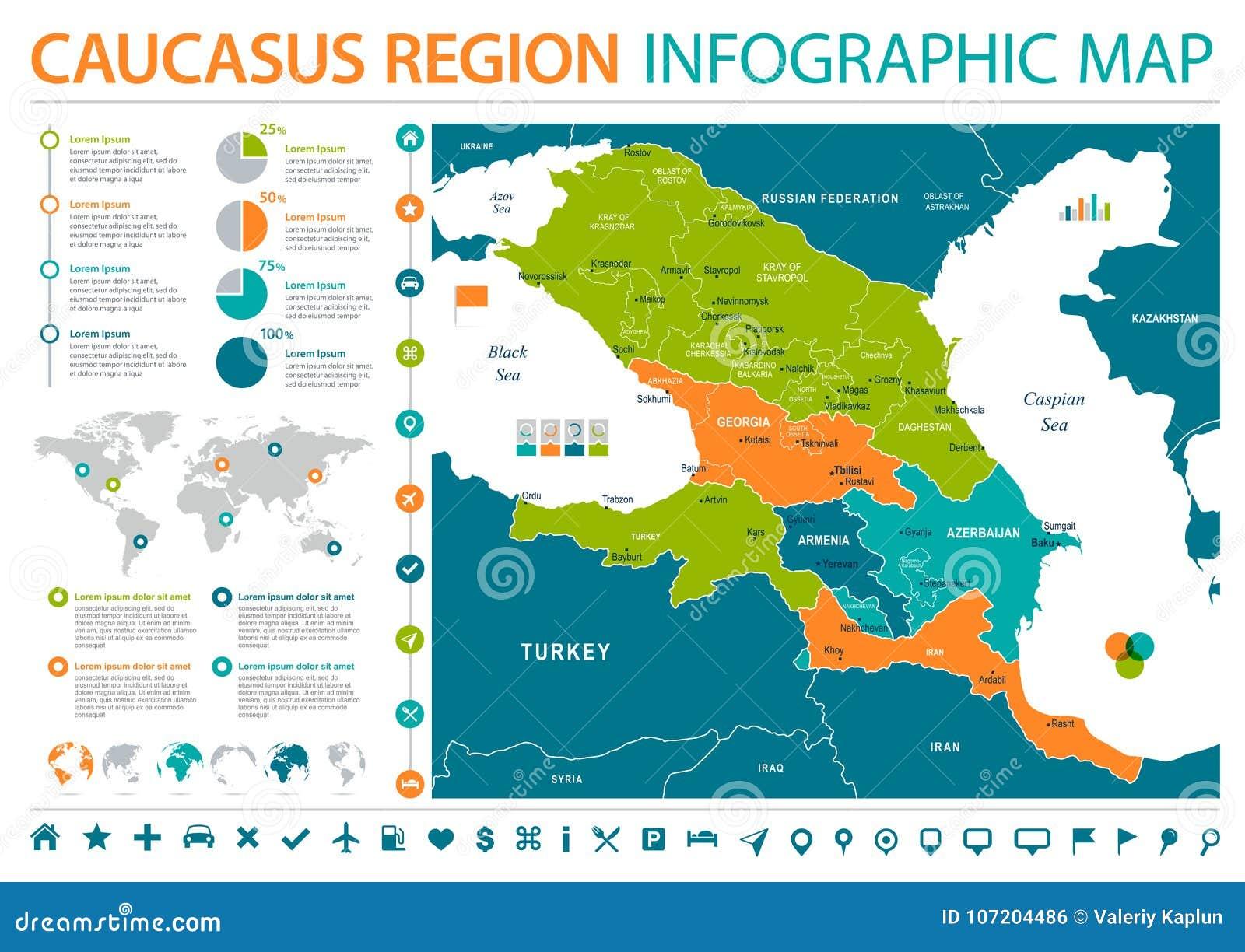 Region S Karte.Kaukasus Regions Karte Informations Grafische Vektor Illustration
