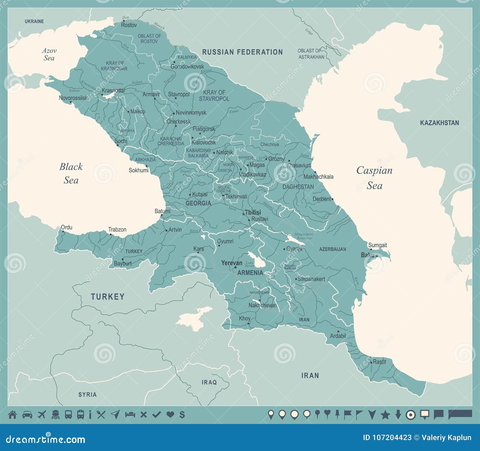 Region S Karte.Kaukasus Regions Karte Weinlese Vektor Illustration Stock