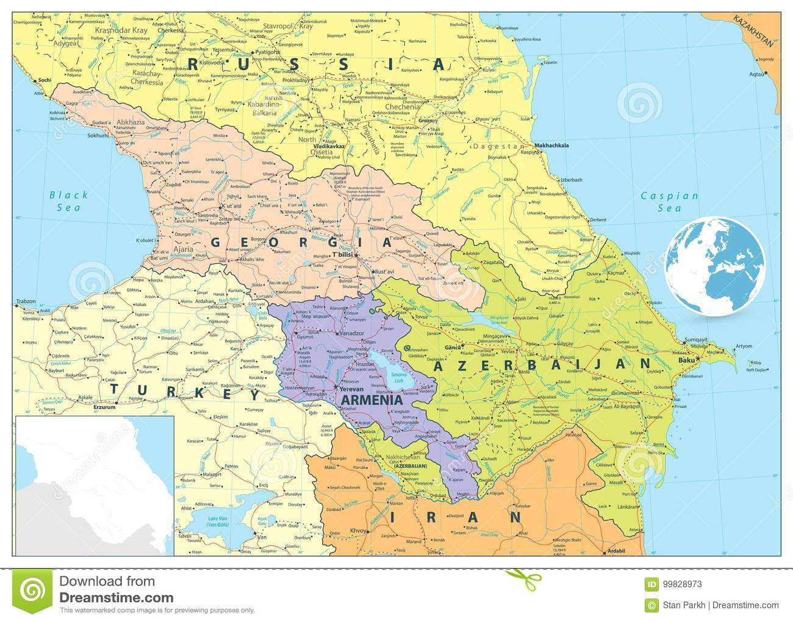Kaukaz Polityczna Mapa Ilustracja Wektor Ilustracja Zlozonej Z