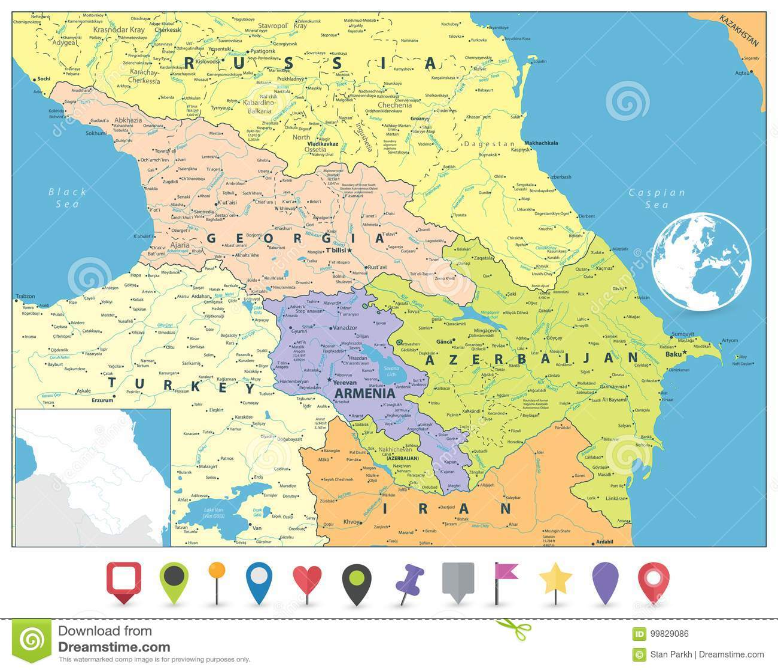 Kaukaz Polityczna Mapa I Plascy Mapa Markiery Ilustracja Wektor