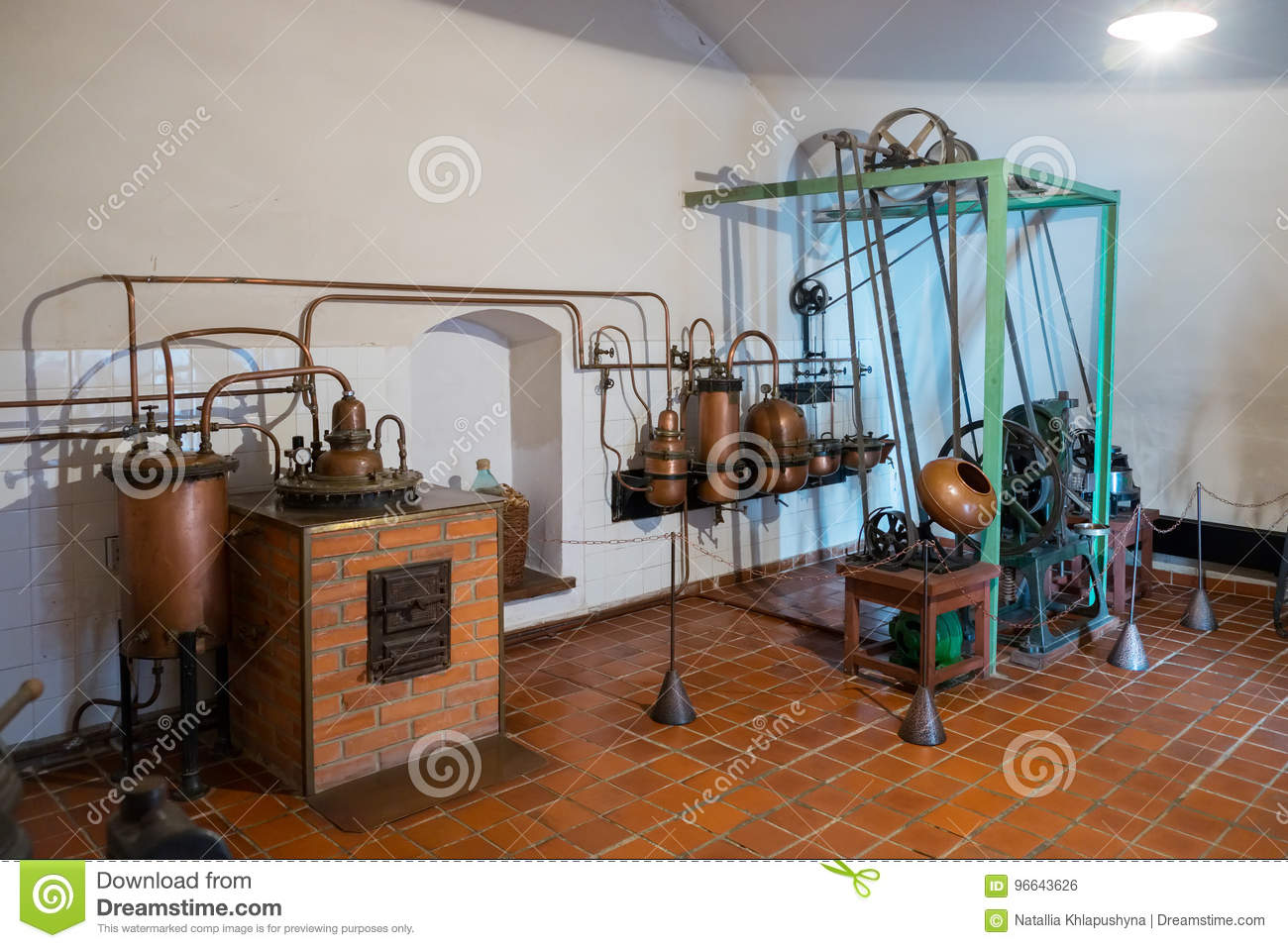 Kaunas, Lithuania - May 12, 2017: antique pharmaceutical tablet machine inside of Museum of History of Medicine and Pharmacy.
