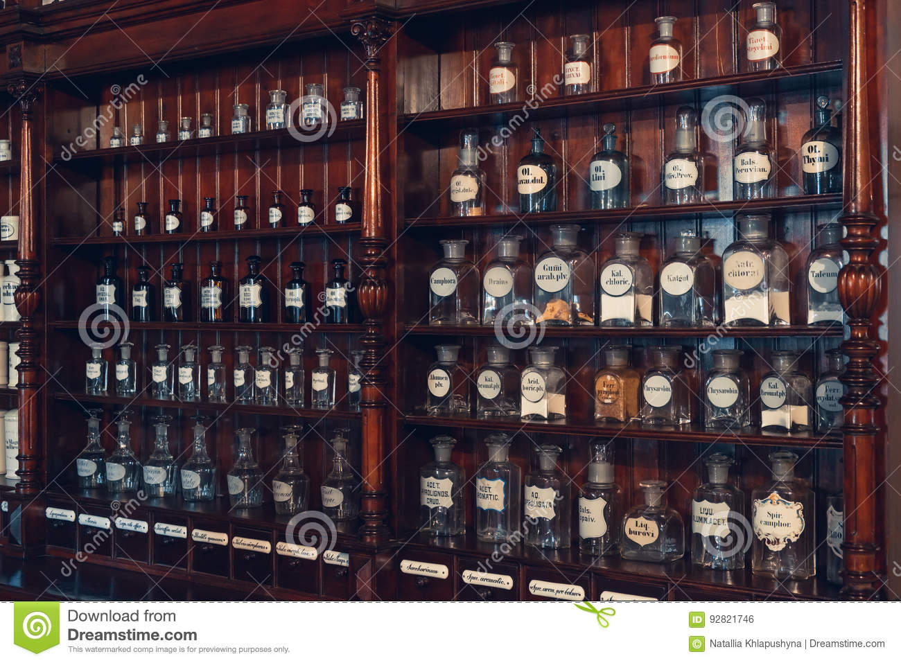 Kaunas, Lithuania - May 12, 2017: cabinet of drugs in Museum of Medicine.