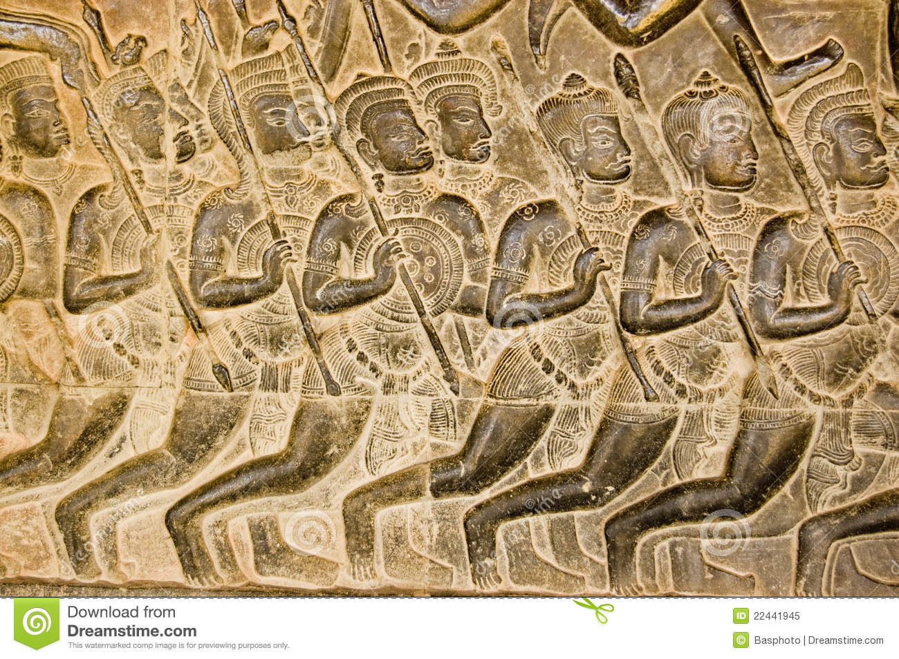 Kaurava army bas relief angkor wat royalty free stock