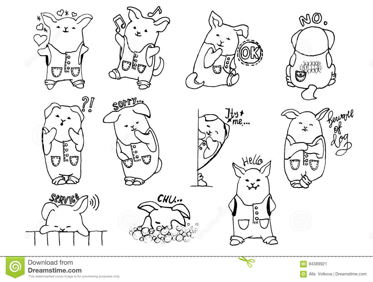 Image of: Cute Animal Kawaii Animals Freehand Drawing Cute Puppy In Overalls Dreamstimecom Kavaii Dog Stock Illustration Illustration Of Boys Cartoon 94389921